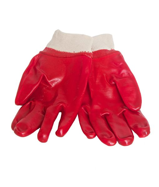 Red PVC Gloves with Knitted Wrist 1