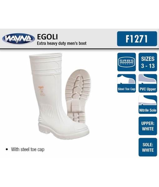 #1271 Mens White Egoli (Steel Toe Cap)